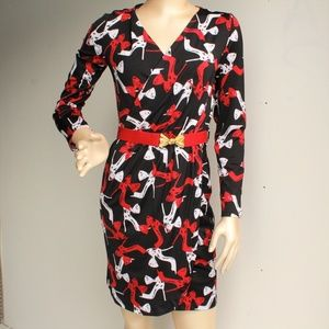 Heel Shoe Print Stretchy Mock Crossover Dress